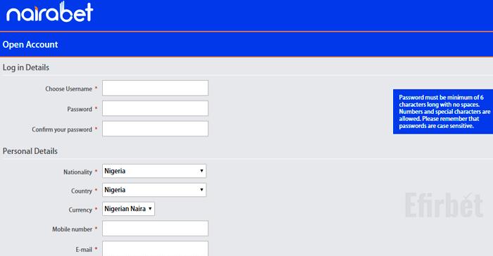 nairabet registration form