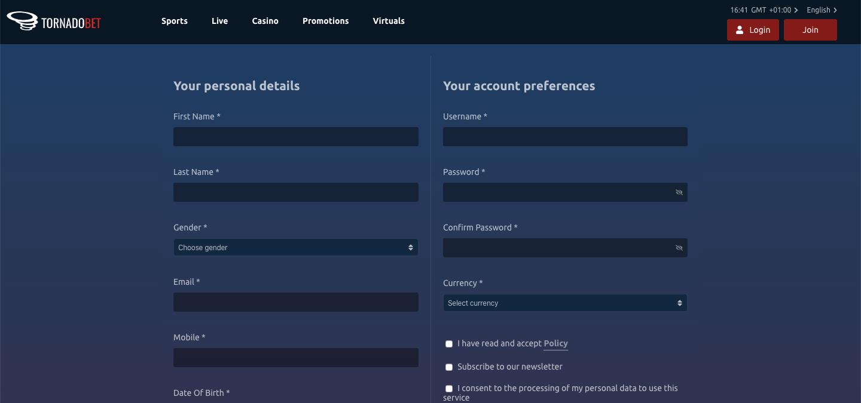 tornadobet registration
