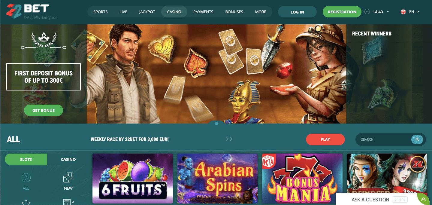 22BetCasino Homepage