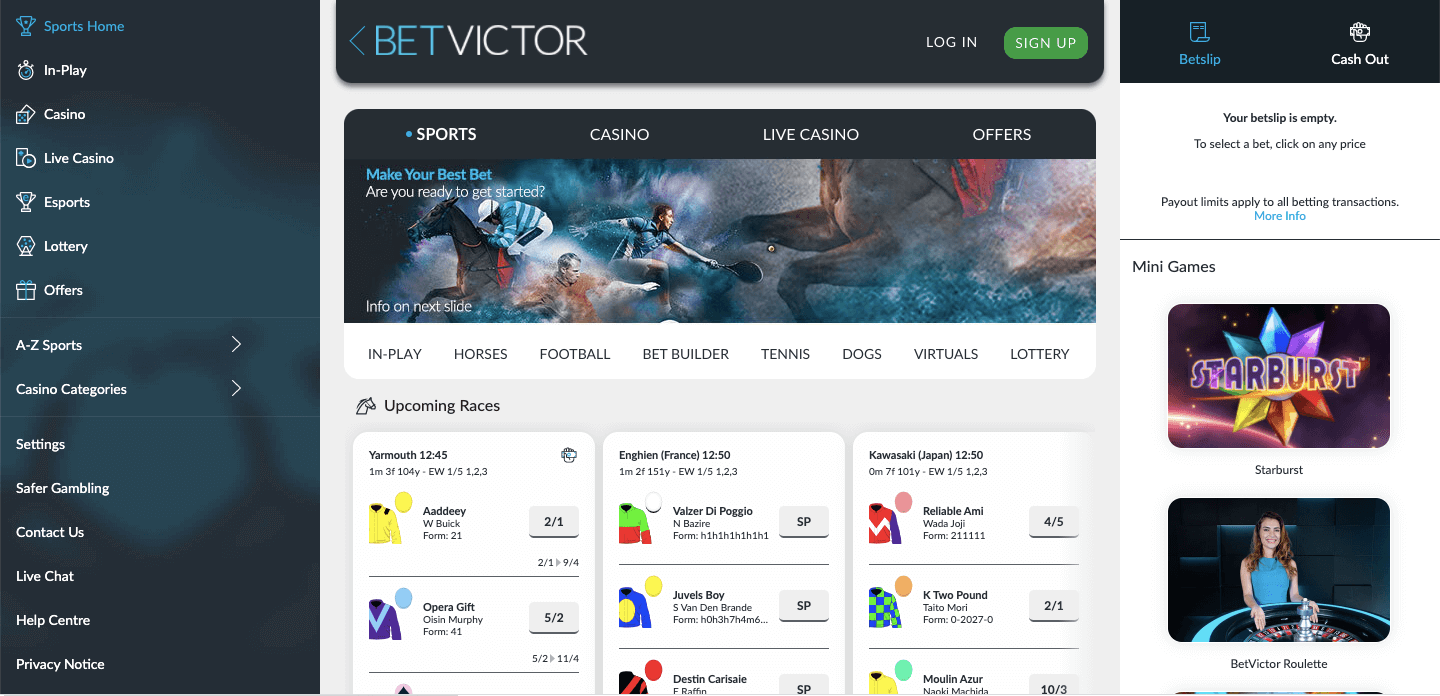 BetVictor homepage