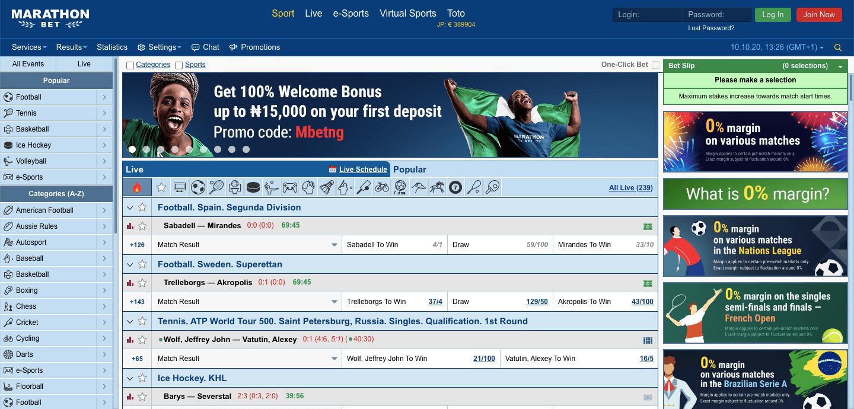 Marathonbet Homepage