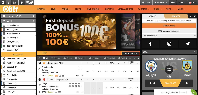 DoubleBet homepage
