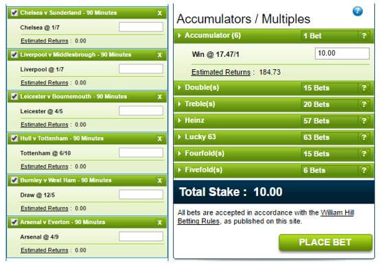 several types of acca bets